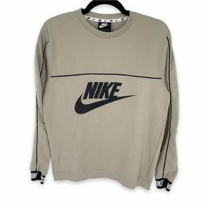 Nike Sportswear Crew Neck Elastic Cuff Fleece Sweatshirt Men's Medium Gray Logo